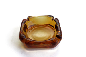 Vintage Glass Ashtray, Mid Century Yellow Ashtray