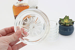 Vintage Glass Coasters, Set of 6 Clear Glass Drink Coasters