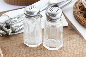 Vintage Glass Salt & Pepper Shakers
