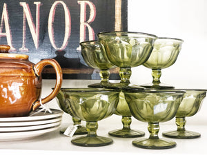 Vintage Green Glass Ice Cream Cups, Dessert Bowls, Mid Century Kitchen Ware