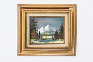 Vintage Fine Art Painting, Framed Landscape, Acrylic on Canvas, Wall Art