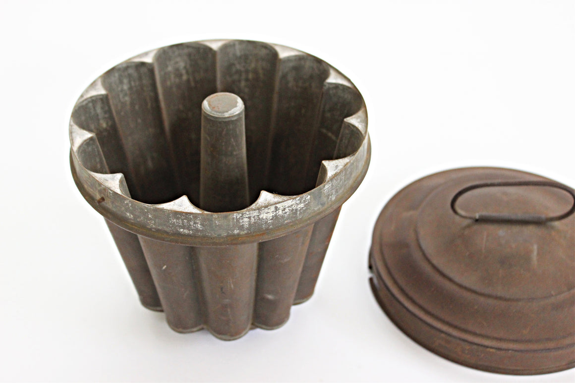 Antique Copper Cooking Mold, Vintage Baking Mold, Rustic Kitchen Decor