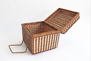 Wicker & Bamboo Picnic Basket, 1960s Woven Food Storage Basket