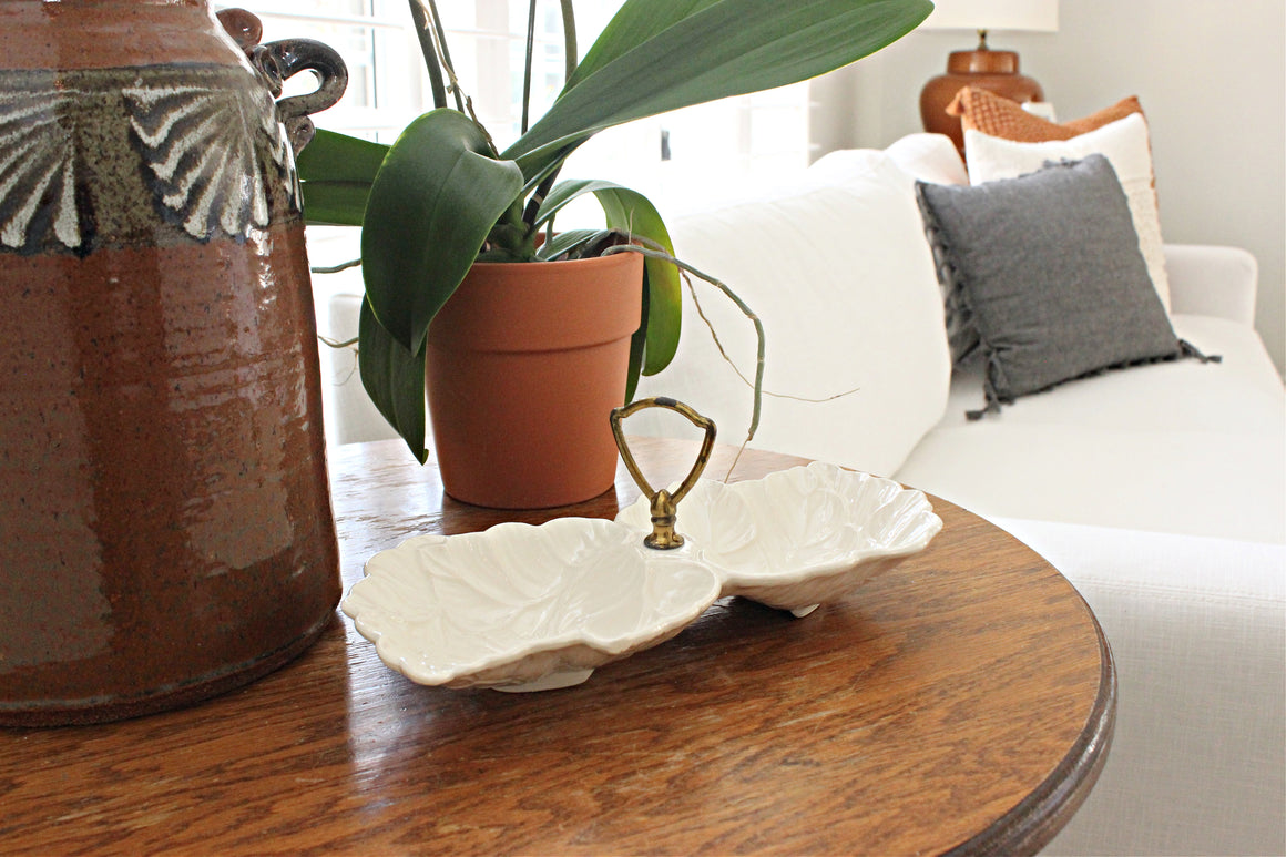 Vintage Ceramic Dish, Small White Decorative Tray