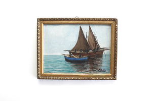 Original Framed Sailboat Painting, Vintage Nautical Art