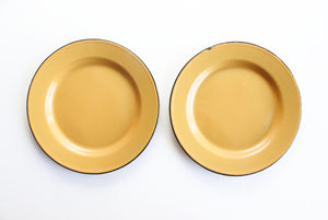 Yellow Enamel Plates, Set of 2 Vintage Metal Camping Plates