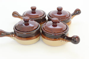 Set of 4 Vintage Stoneware Kitchen Bowls, Crock Pot Style Bowls