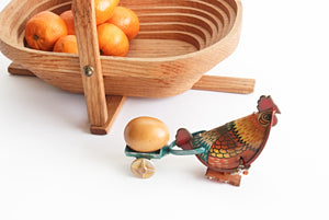 Vintage Wind-Up Toy, Hen Pulling Egg & Cart