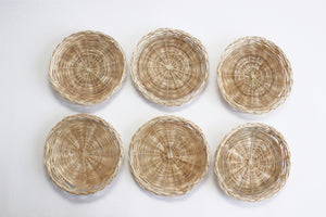 Natural Woven Paper Plate Holders, Set of 6 - Vintage Outdoor Dining Plates