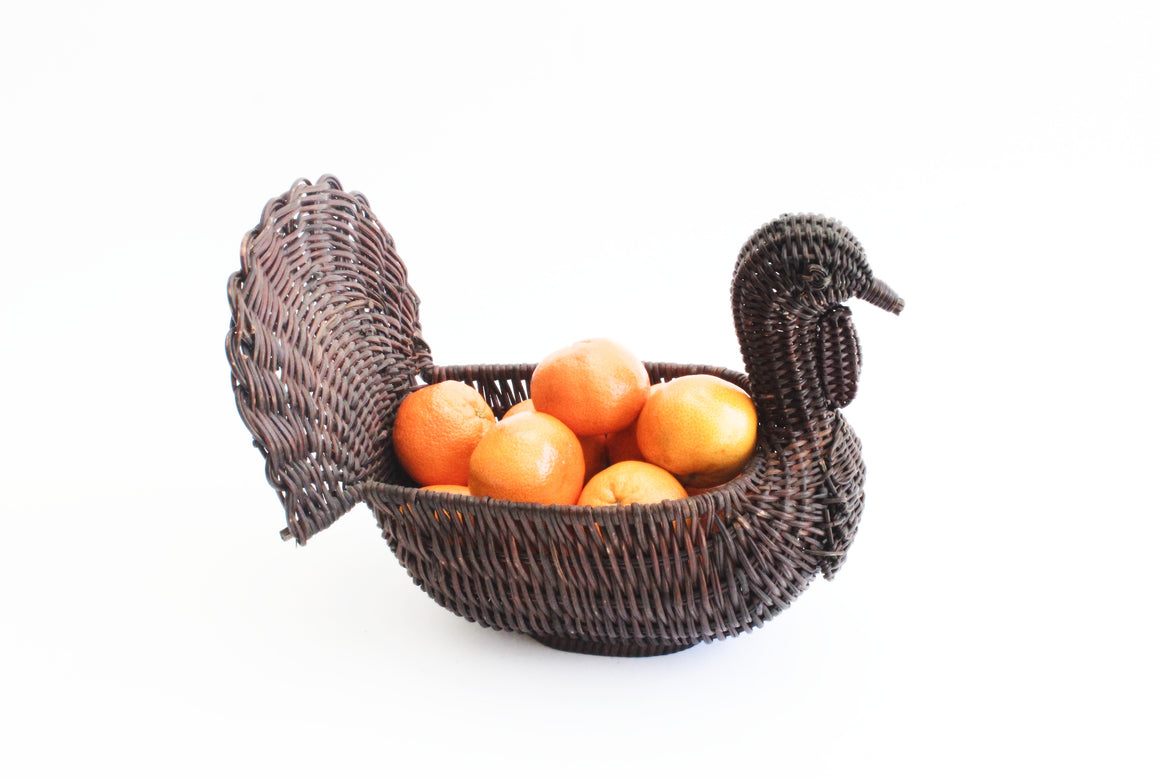 Woven Wicker Turkey Basket, Thanksgiving Table Decor