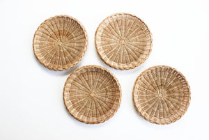 Woven Wicker Paper Plate Holders, 1970s Outdoor Dining Ware
