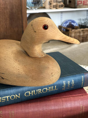 Vintage Carved Wood Mallard, Rustic Cabin Decor