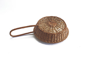Woven Wicker Basket With Long Handle