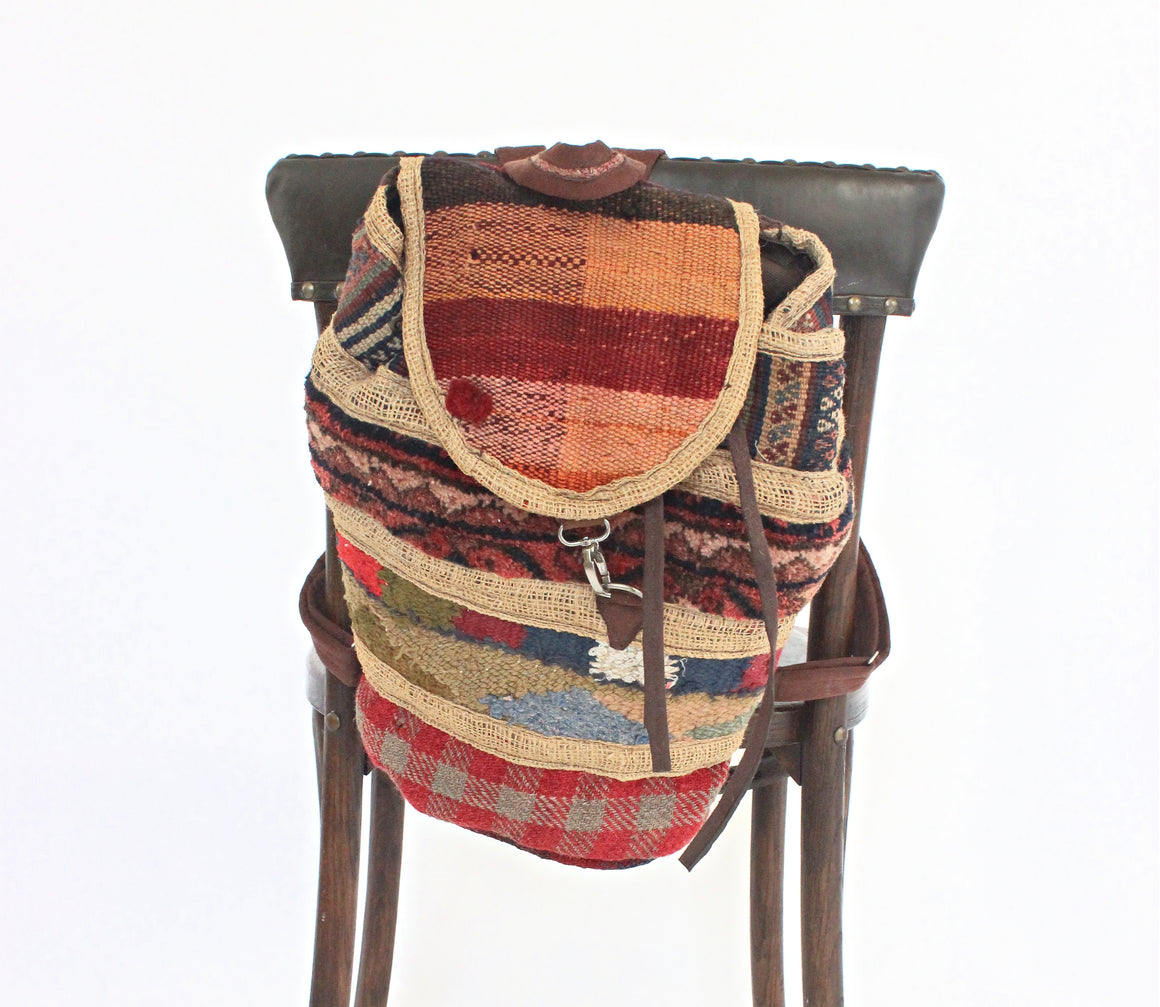 Vintage Woven Carpet Bag, Colorful Handmade Backpack, Bohemian Style Bag