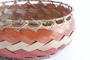1970s Woven Bamboo Basket, Oval Kitchen Basket Bowl