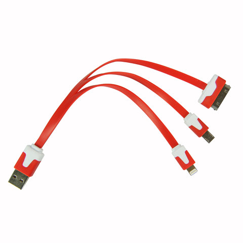 Flat whip USB cable - Red
