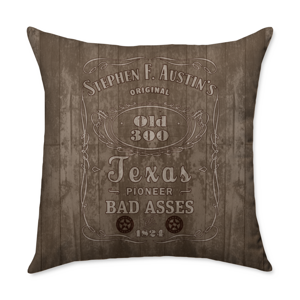 Austin's Old 300 Pioneer Bad Asses Throw Pillow
