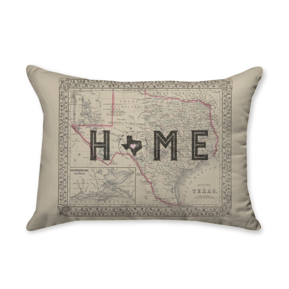 Texas Is Home - Rectangular Throw Pillow