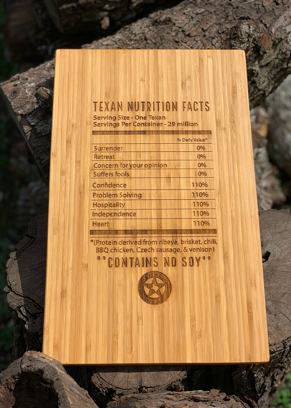Texas Nutrition Facts Large Bamboo Cutting Board