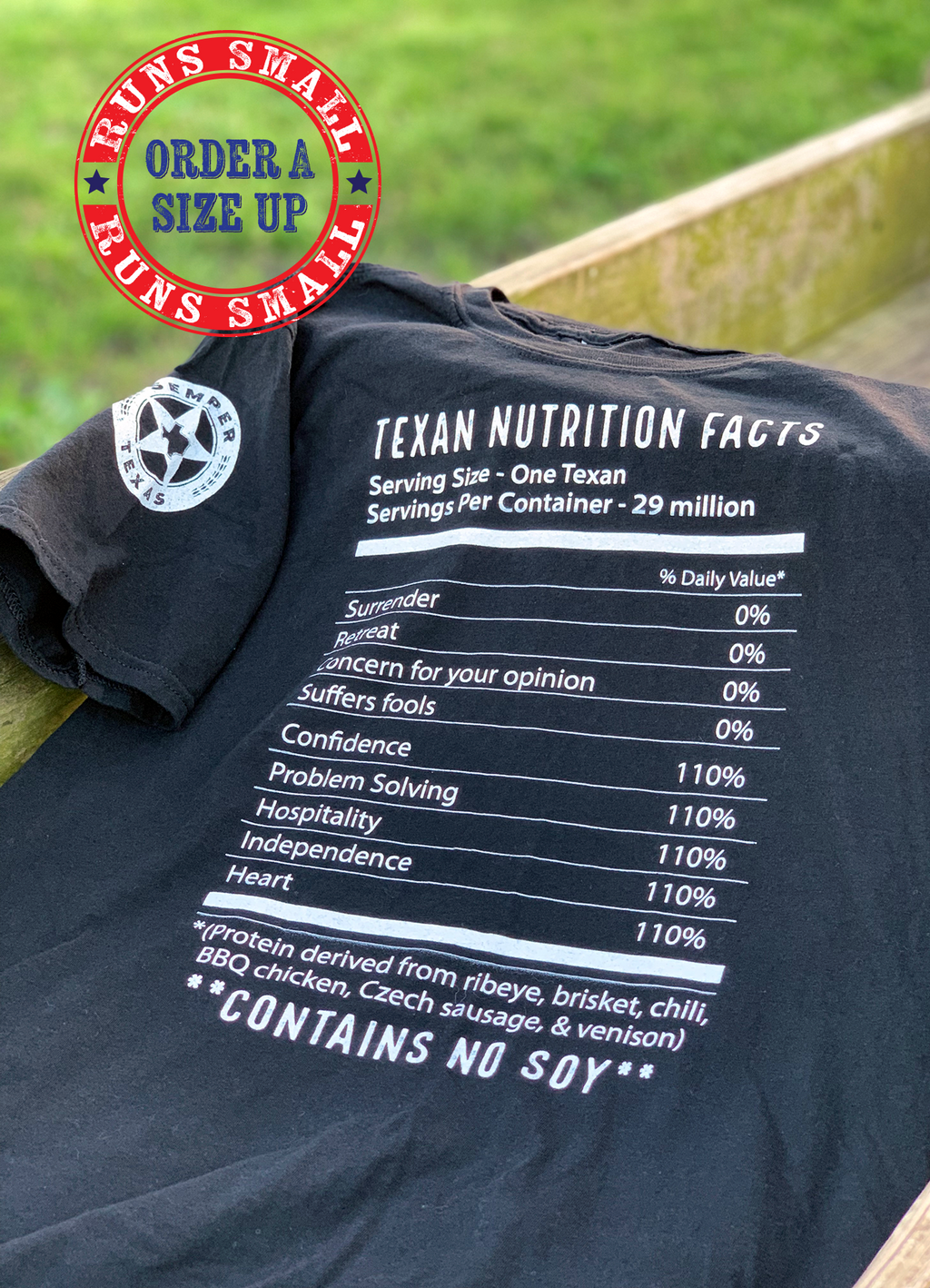 Texan Nutrition Facts - Contains No Soy shirt
