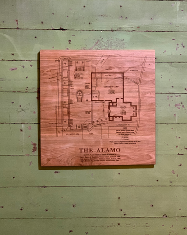 Alamo Plaza by A.J. Houston, Cherry Wood Plaque