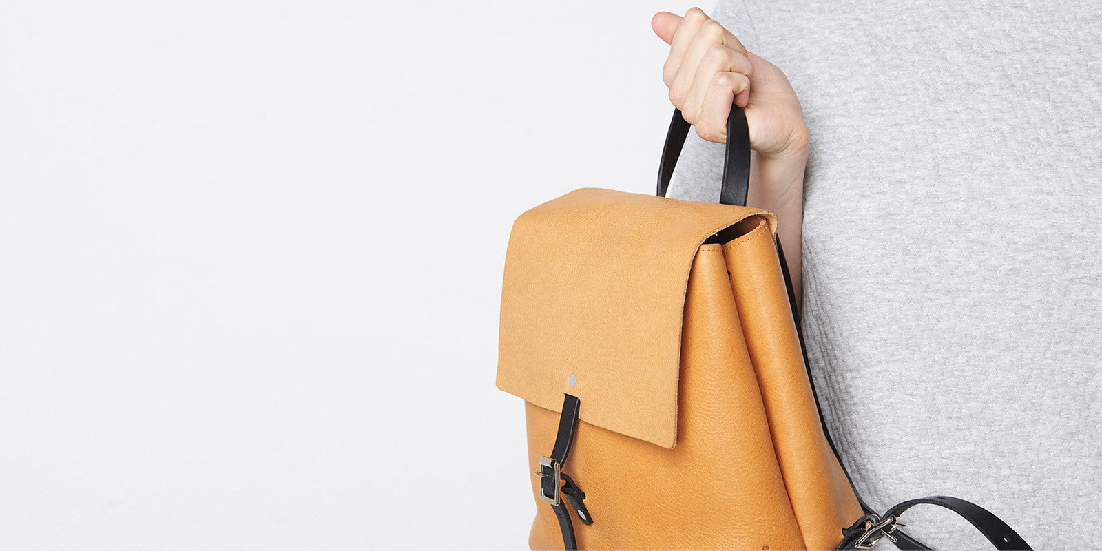 Small Buckle Backpack - Tan Slide 4