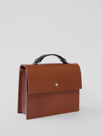 Mini Structured Bag - Chestnut - Alfie Douglas - minimal leather bags backpacks handmade in England