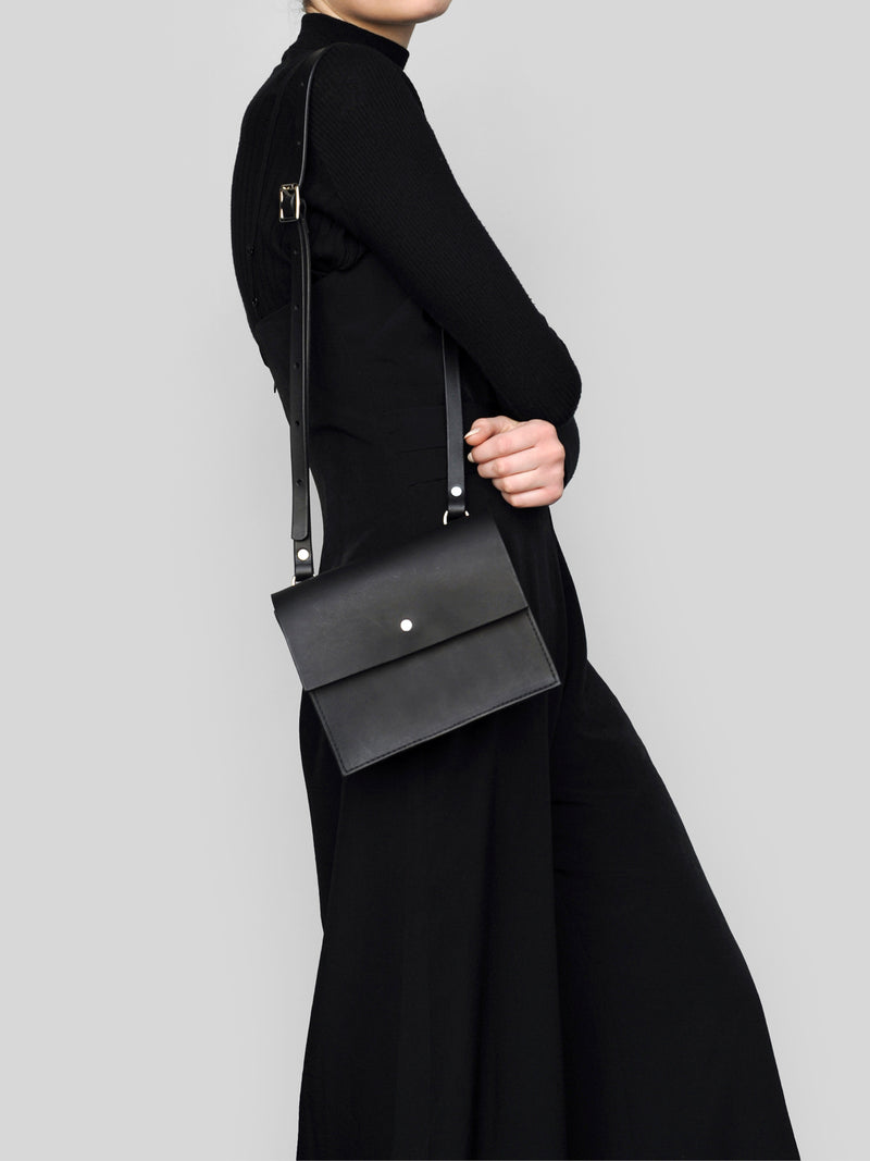 Mini Structured Bag - Black - Alfie Douglas - minimal leather bags and backpacks handmade in London, England
