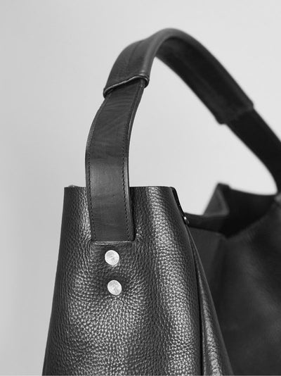 Slouchy Tote - Black - Alfie Douglas - minimal leather bags backpacks handmade in England