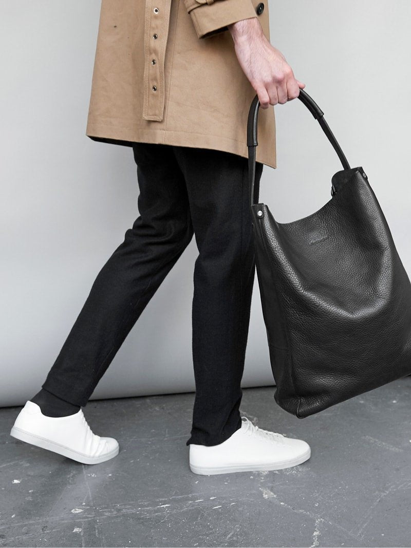 Slouchy Tote - Black - Alfie Douglas - minimal leather bags and backpacks handmade in London, England