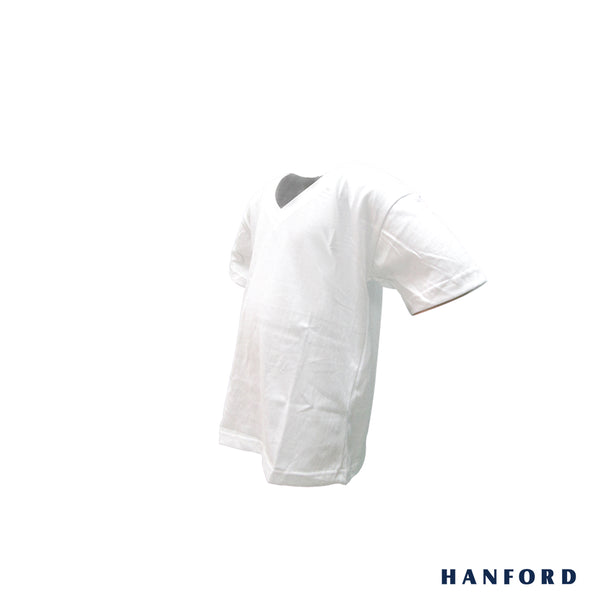 Hanford Kids Premium V-Neck Short Sleeves Shirt - White (SinglePack)