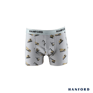 Hanford Kids/Teens Cotton w/ Spandex Boxer Briefs - Truck Print/Silver Gray (Single Pack)