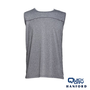 Hanford Athletic Mens Pro Cool 2.0 R-Neck Sleeveless Shirt - Gray Melange (Single Pack)