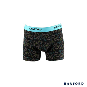 Hanford Kids/Teens Cotton w/ Spandex Boxer Briefs - Mavis Print/Black (Single Pack)