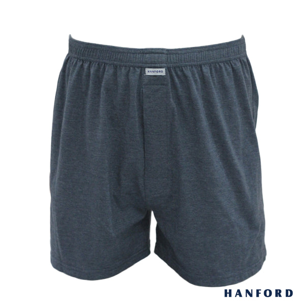 Hanford Mens Cotton Knitted Boxer Shorts - Carib/Dark Shadow (Single Pack)