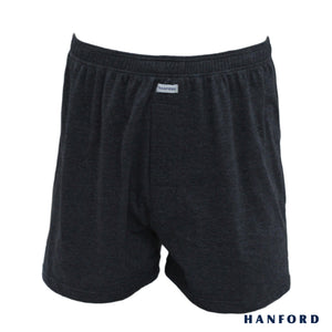 Hanford Mens Cotton Knitted Boxer Shorts - Carib/Phantom Black (Single Pack)