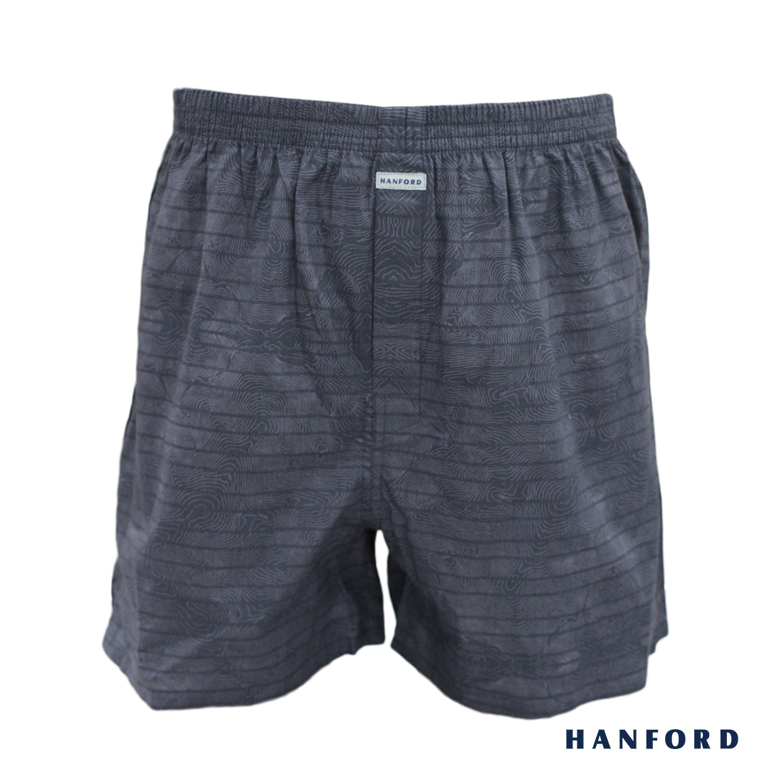 Hanford Mens Cotton Woven Shorts Barks - Bark Print/Steel Gray (SinglePack)