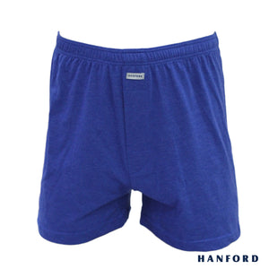 Hanford Mens Cotton Knitted Boxer Shorts - Carib/True Blue (Single Pack)