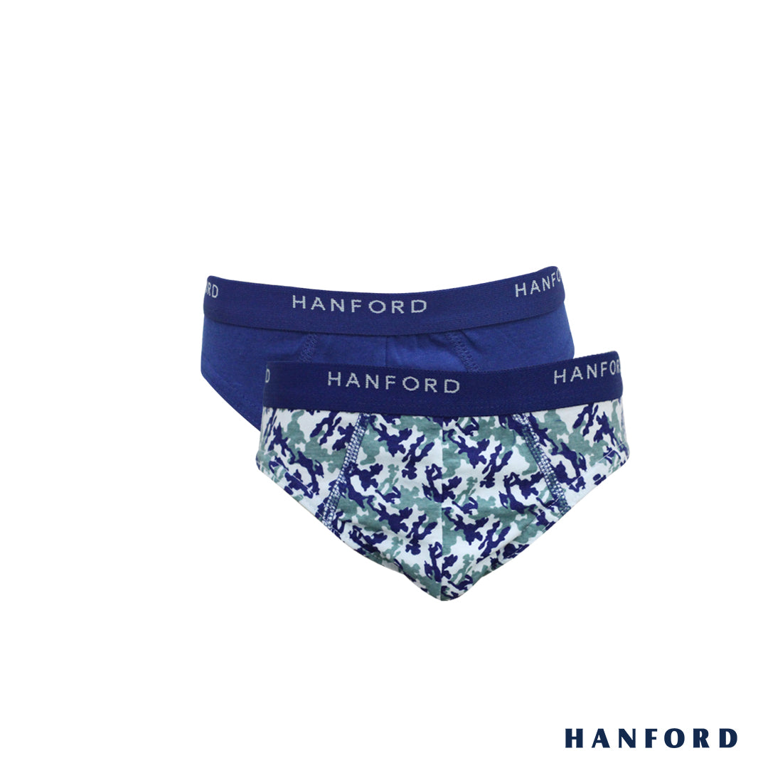 Hanford Kids/Teens Briefs - Cadet Print (2in1 Pack)