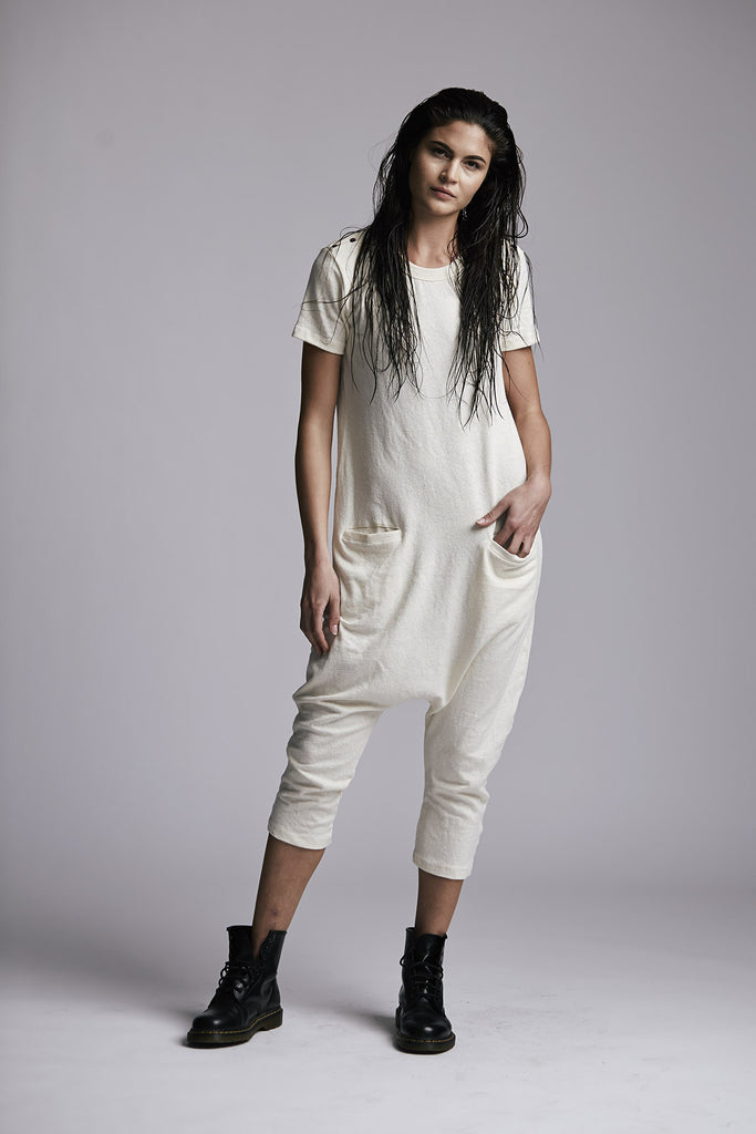 Cream T-Shirt Jumpsuit