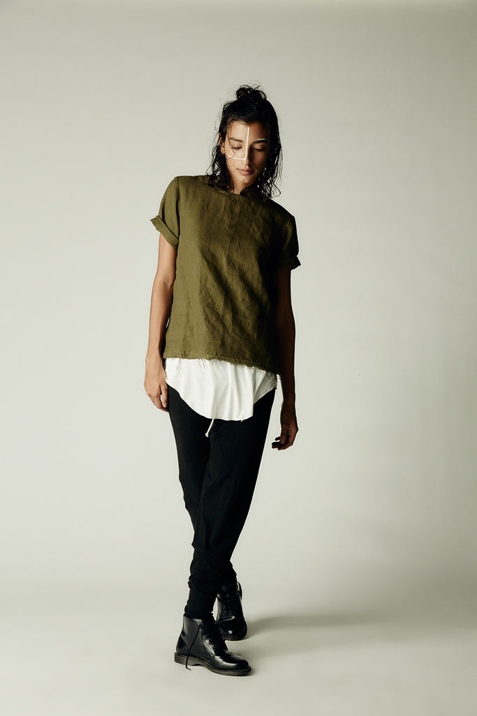 Linen Tee Army Green