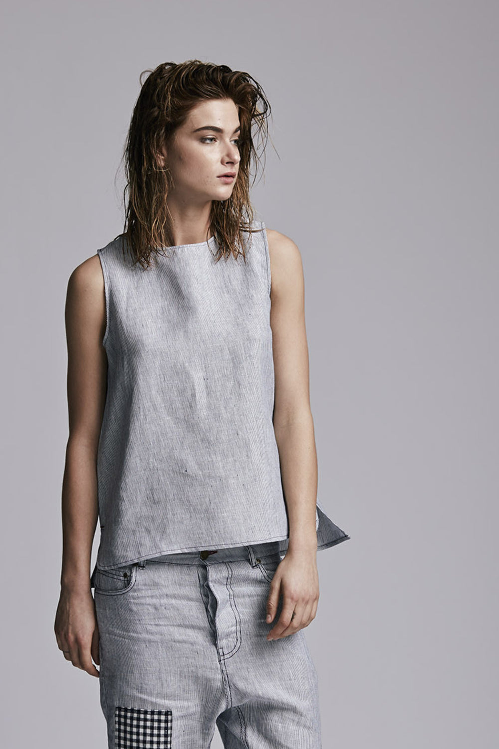 Linen Tank Blue Stripe