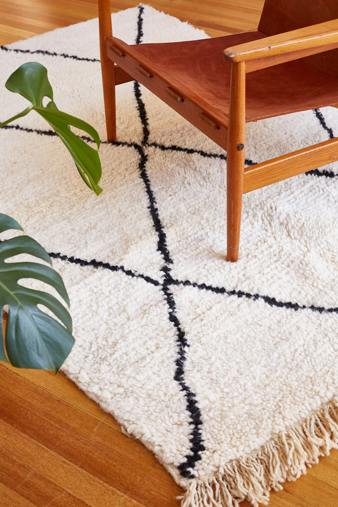 Tan and Black Moroccan Rug