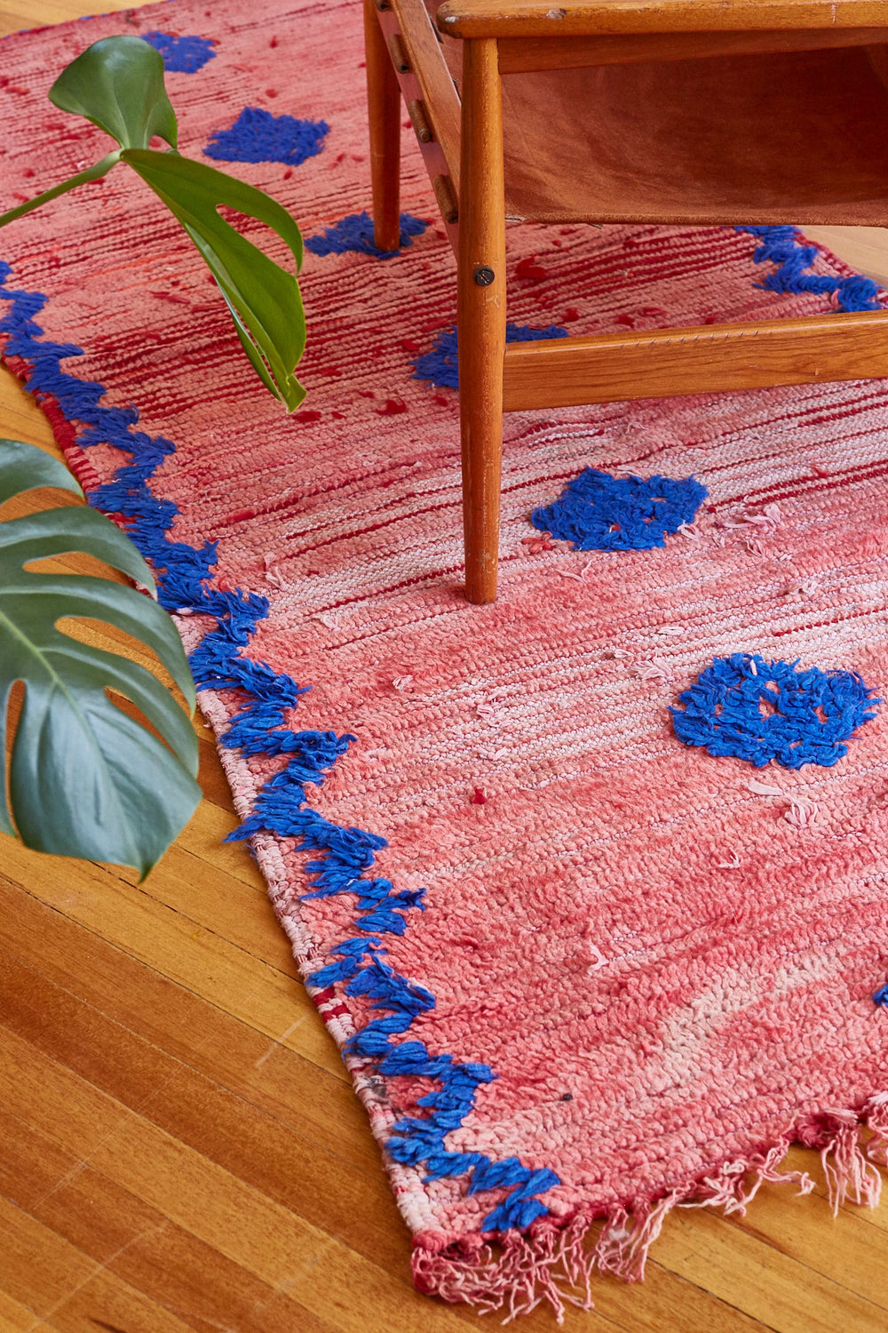 Blue and Crimson Moroccan Wool Runner