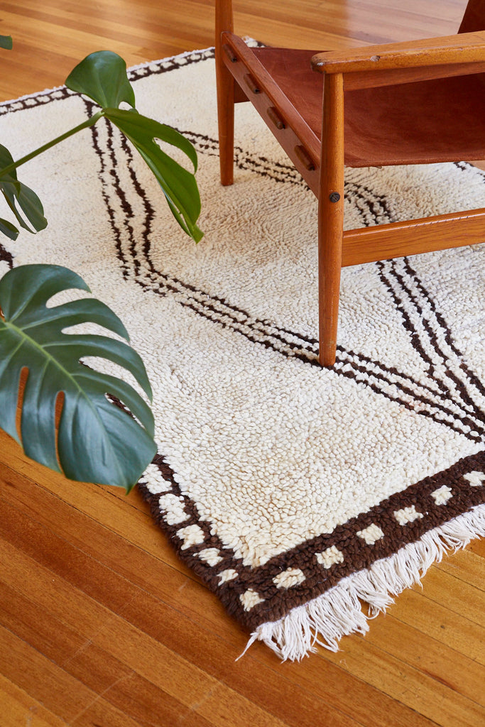 Cream and Brown Moroccan Rug