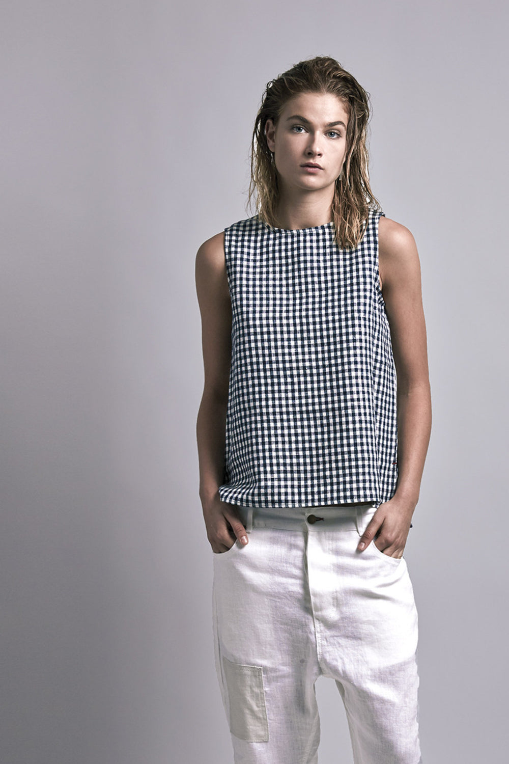 Linen Tank Navy Plaid