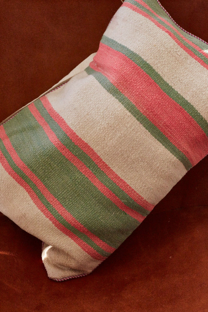 Pink Striped Throw Pillow