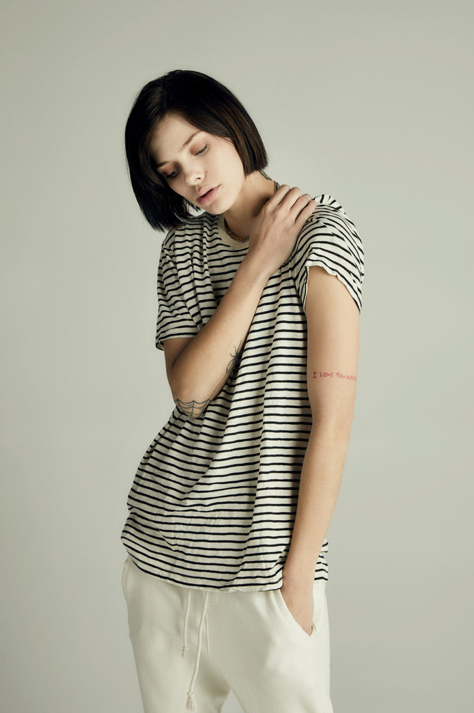 The Striped White Tee