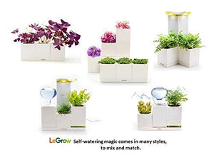 LeGrow Self-Watering Indoor Planter - Garden Tower with Artificial Sunlight - 5 Patented Design Plant Pots, 2 Bottom Connectors, 1 Plant Growth Lamp, 1 Water Holding Base Tray - (Plants Not Included)