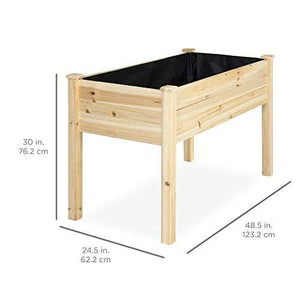 Best Choice Products Raised Garden Bed 48x24x30-inch Elevated Wood Planter Box Stand for Backyard, Patio, Natural